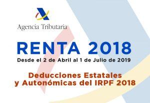 Deducciones Estatales y Autonómicas del IRPF 2018