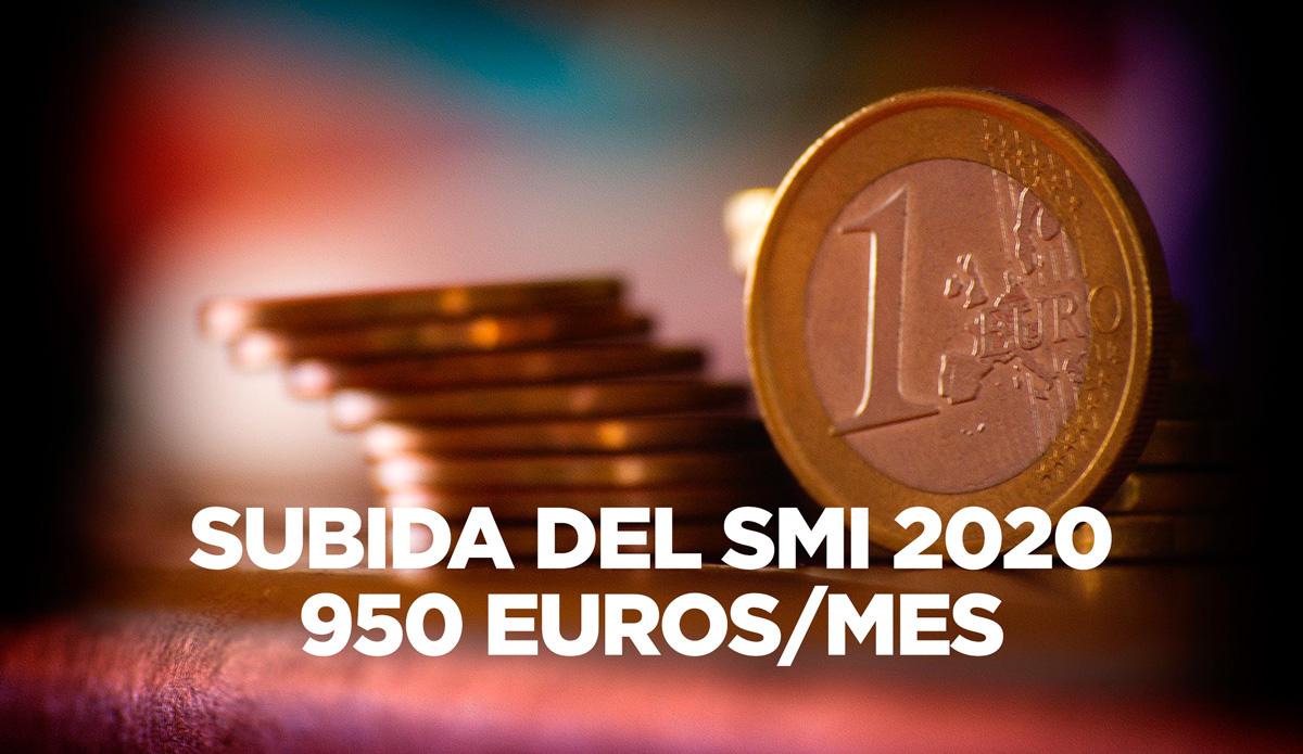 Subida del Salario Mínimo Interprofesional a 950€ al mes