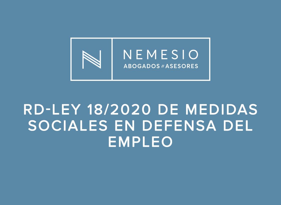 RD-Ley 18/2020 de medidas sociales en defensa del empleo
