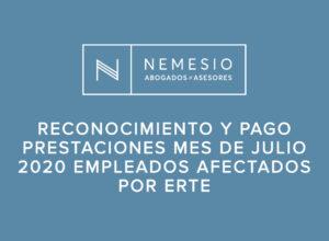 Reconocimiento y pago prestaciones mes de julio 2020 empleados afectados por ERTE