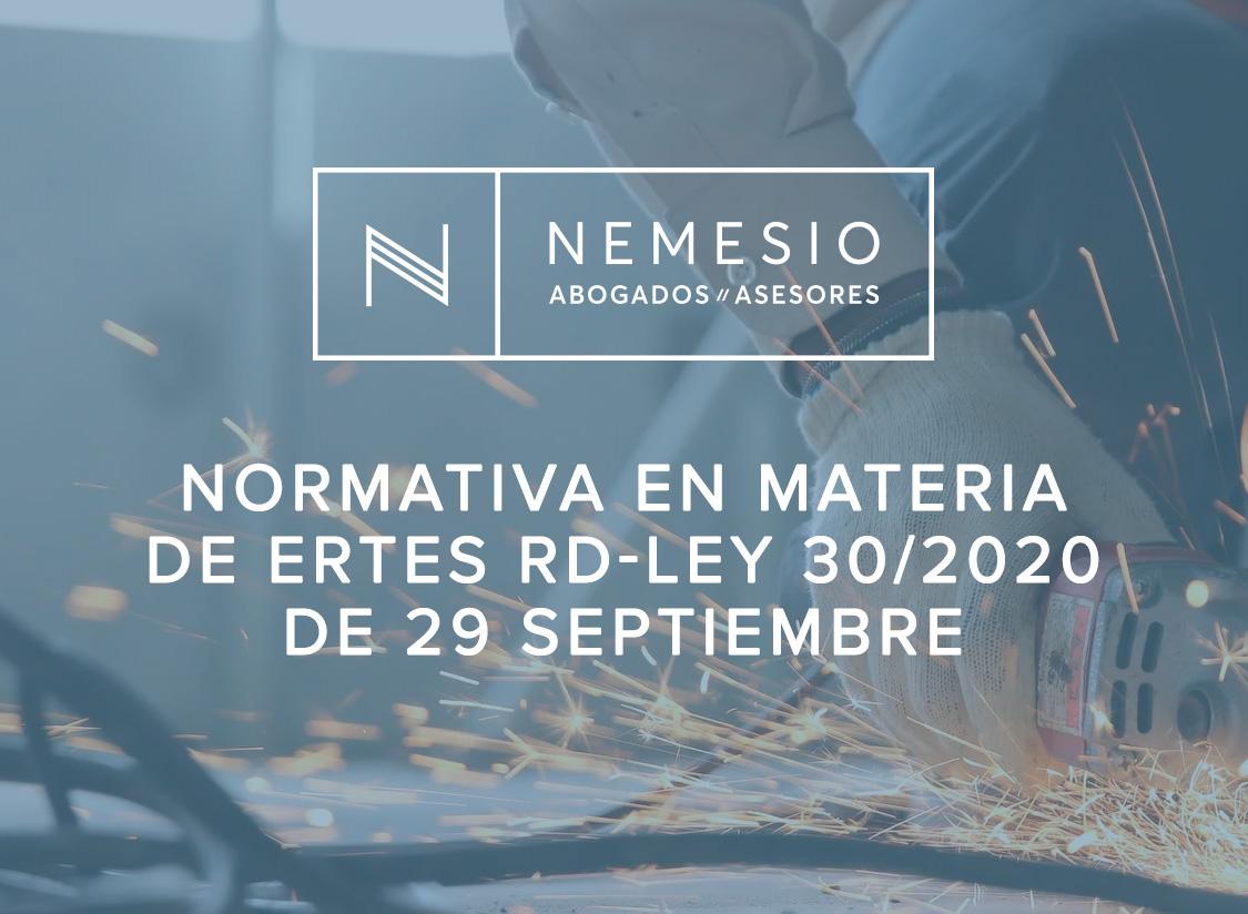 Normativa en materia de ERTEs RD-Ley 30/2020 de 29 septiembre