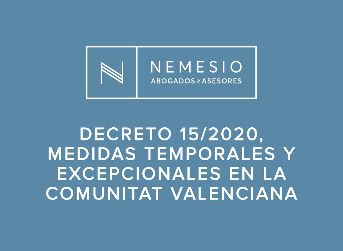 Decreto 15/2020, medidas temporales y excepcionales en la Comunitat Valenciana